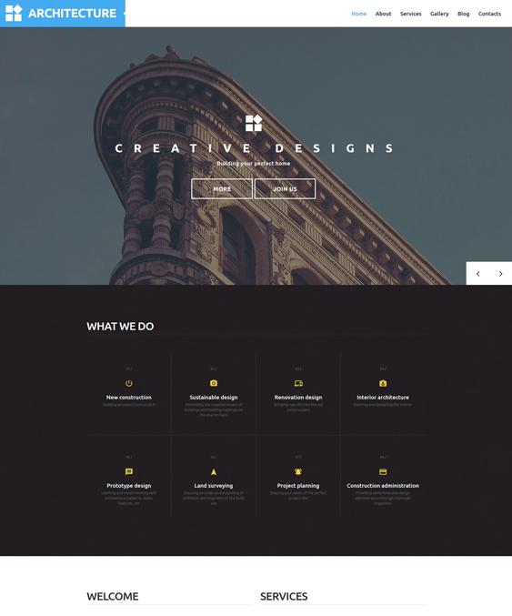 architecture parallax wordpress themes