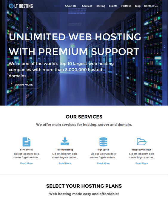 lt hosting web hosting wordpress themes
