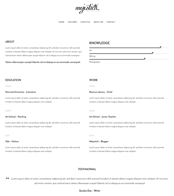 majestick cv resume wordpress themes