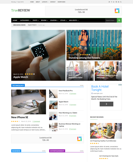 truereview magazine news wordpress themes
