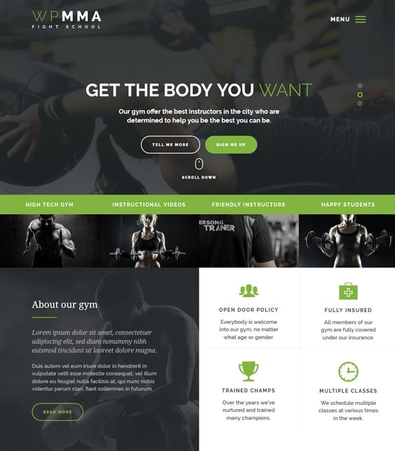 wp mma gym fitness wordpress themes