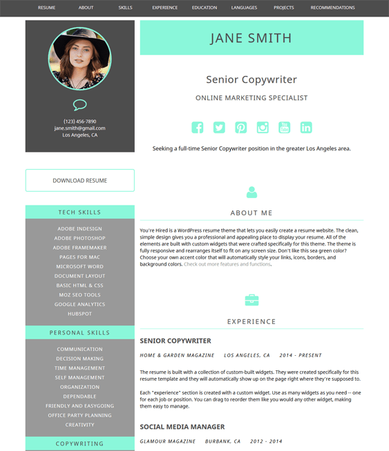 youre hired cv resume wordpress themes