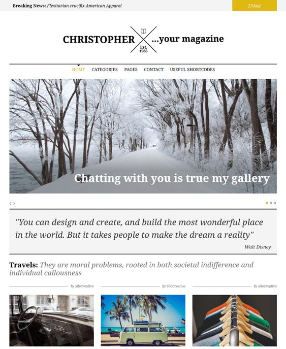 christopher magazine news wordpress themes