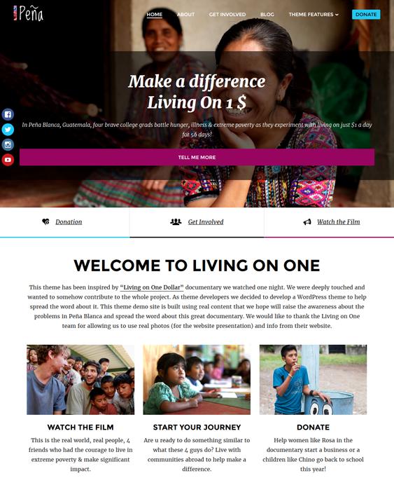 pena charity nonprofit wordpress themes