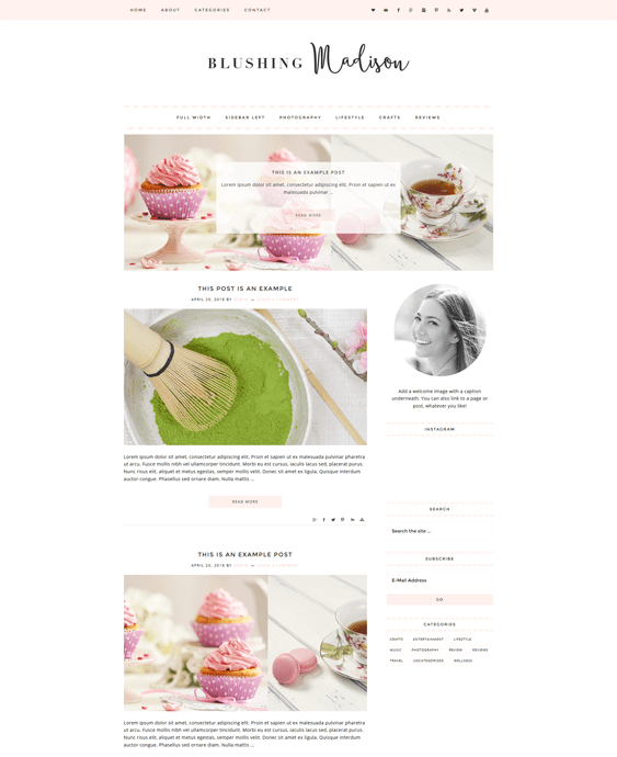 blushing food recipe wordpress themes