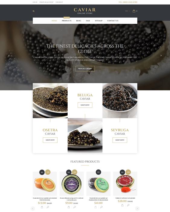 caviar food drink shopify themes