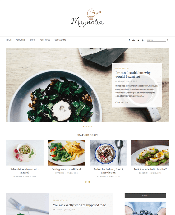 magnolia food recipe wordpress themes