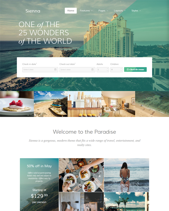 sienna hotel wordpress themes