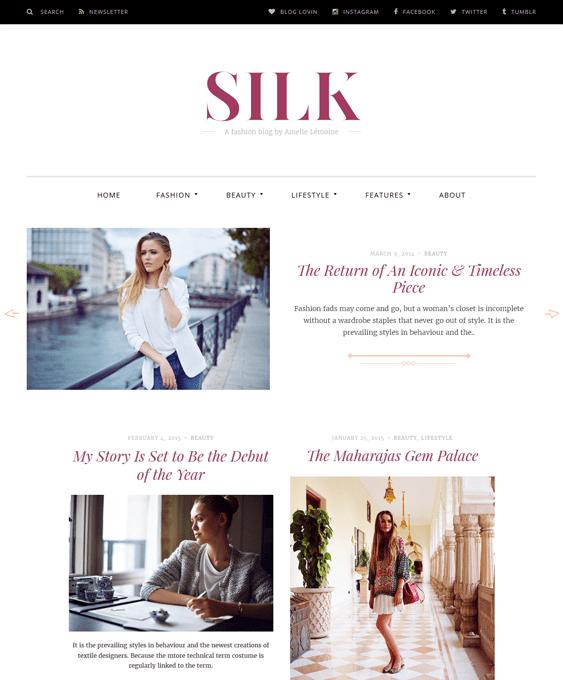 silk fashion blog wordpress themes
