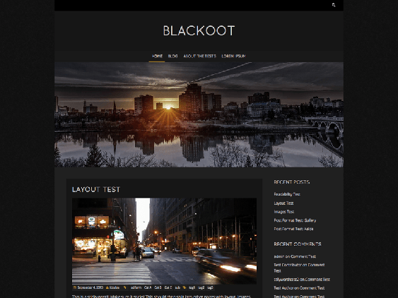 blackoot free dark wordpress themes