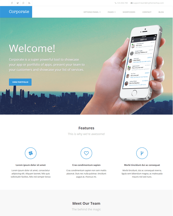 corporate wordpress themes promoting apps