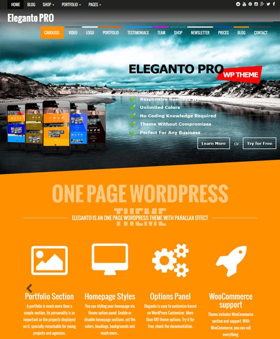 eleganto one page wordpress themes