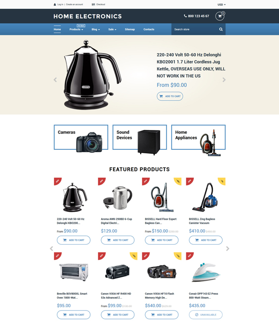 home electronics shopify themes