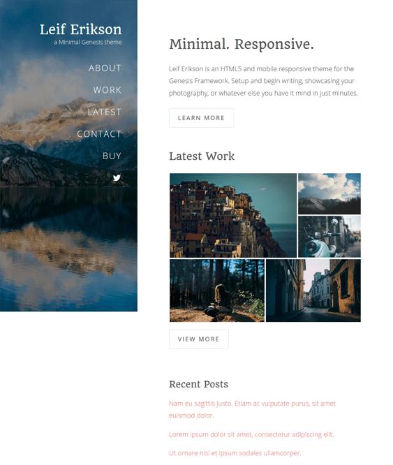 leif minimal wordpress themes