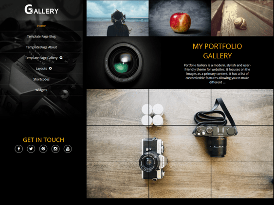 portfolio gallery free dark wordpress themes