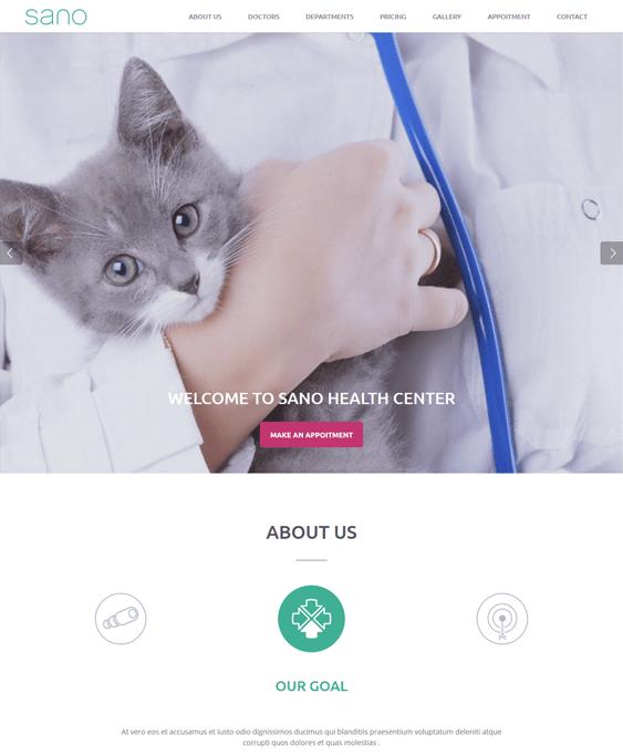 sano pets vets wordpress themes