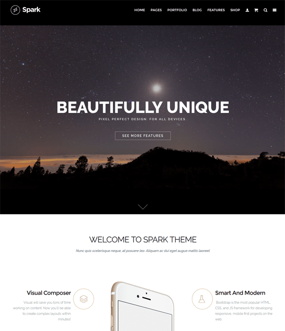spark one page wordpress themes