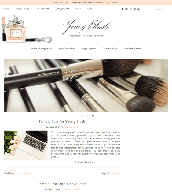 young blush feminine wordpress themes