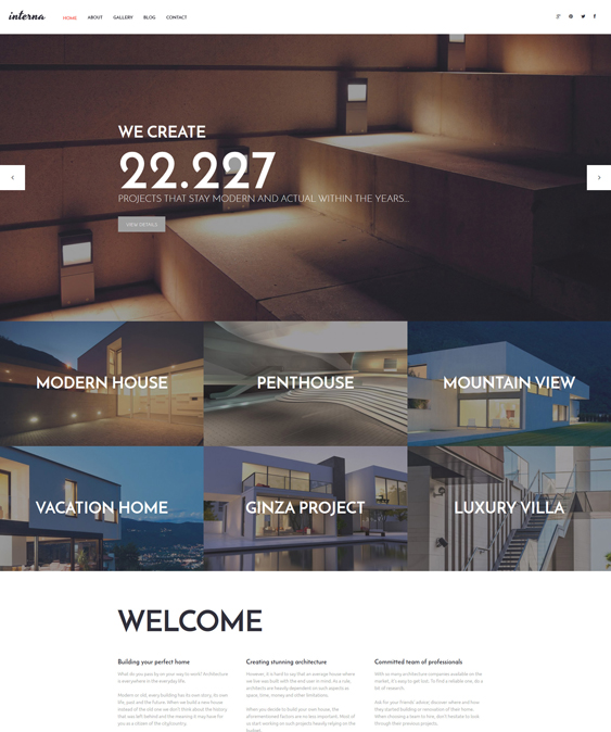 interna architecture wordpress themes