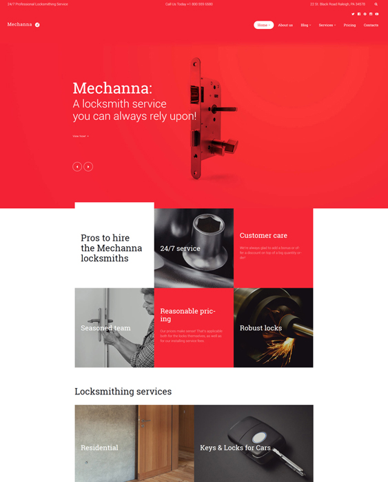 locksmith parallax wordpress themes