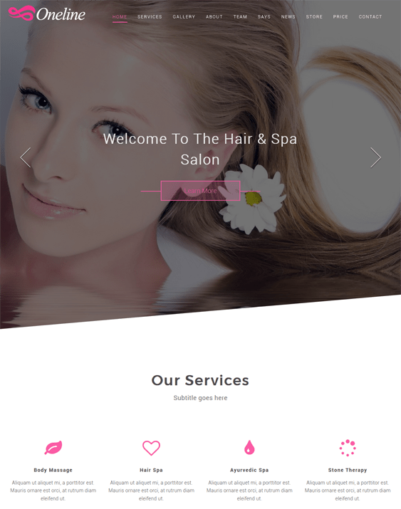 oneline beauty salons spas wordpress themes