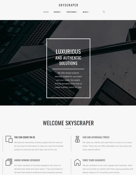 skyscraper architecture wordpress themes