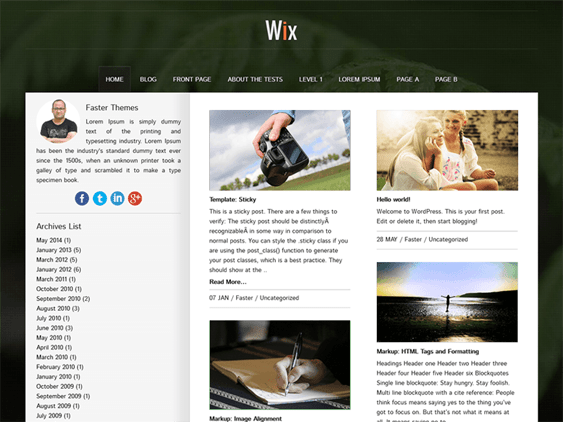 wix free masonry wordpress themes