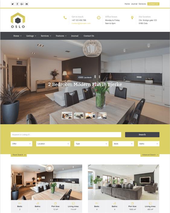 oslo real estate wordpress themes