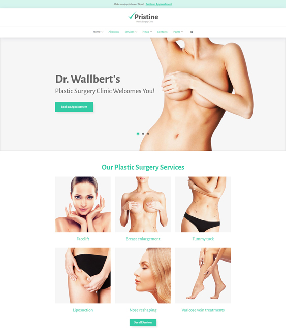 pristine wordpress themes plastic surgeons cosmetic surgery centers