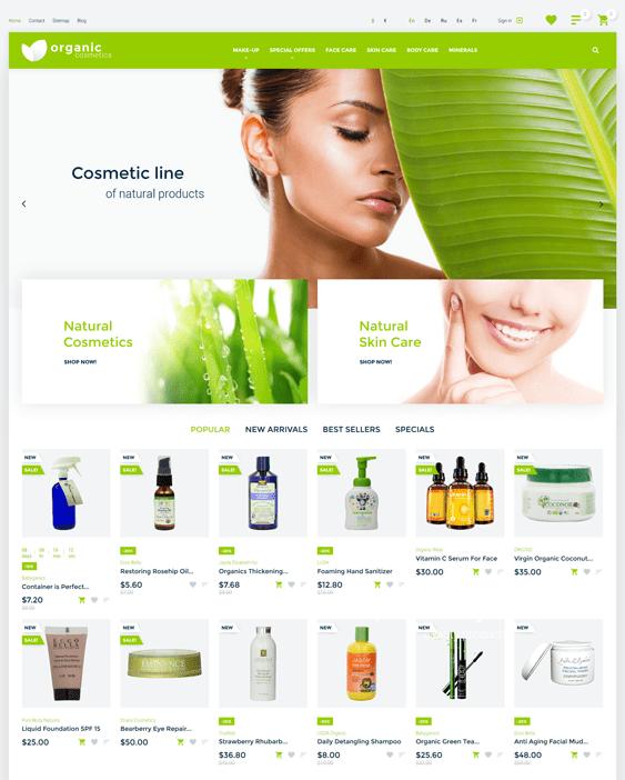 organic prestashop themes beauty products cosmetics make up