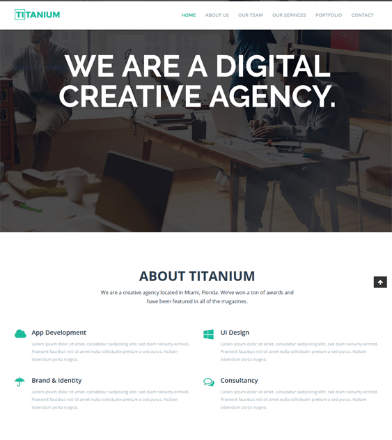 titanium one page wordpress themes