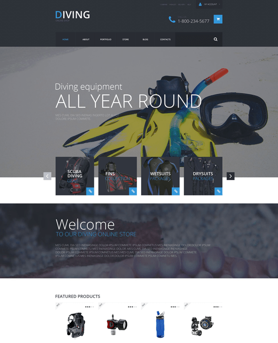 diving sports woocommerce themes