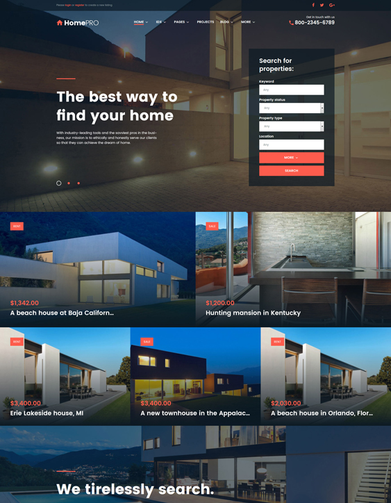 homepro real estate wordpress themes