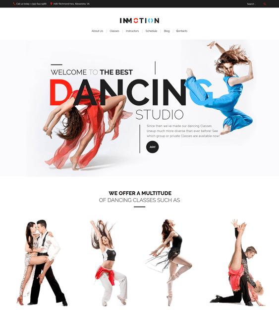inmotion wordpress themes dance studios schools