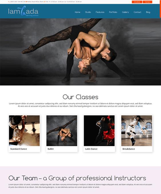 lambada wordpress themes dance studios schools