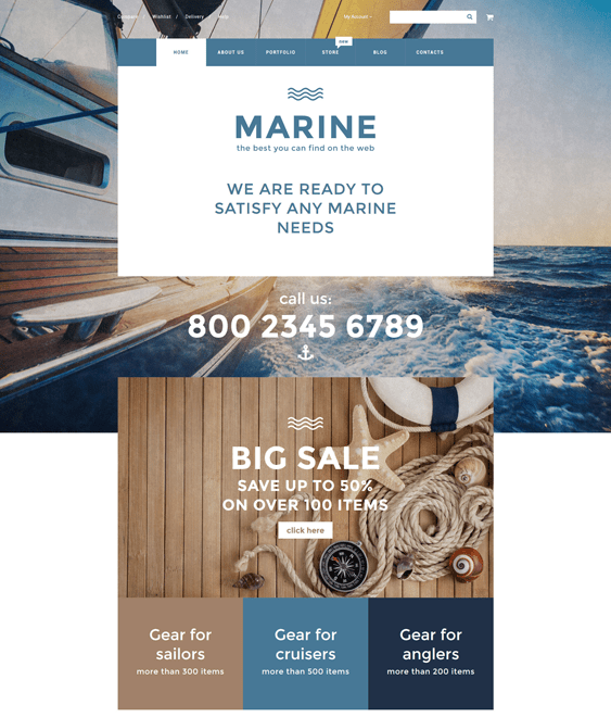 marine sports woocommerce themes