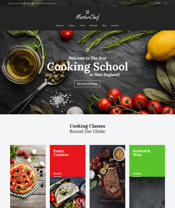 master chef education wordpress themes