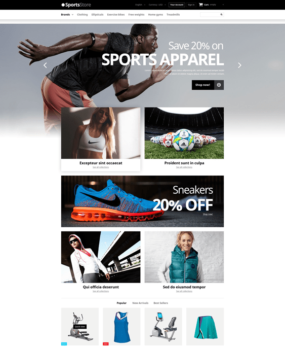 prestashop themes sports stores
