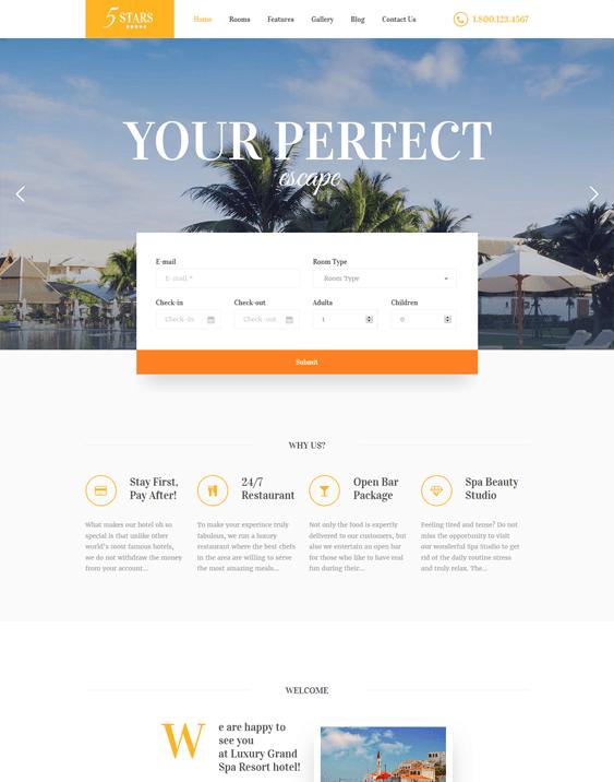 5 stars hotel wordpress themes