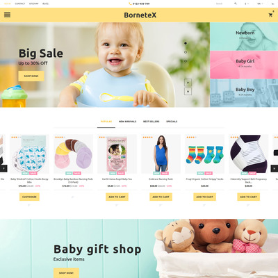 BorneteX (PrestaShop theme for selling clothing for kids, children, and babies) Item Picture