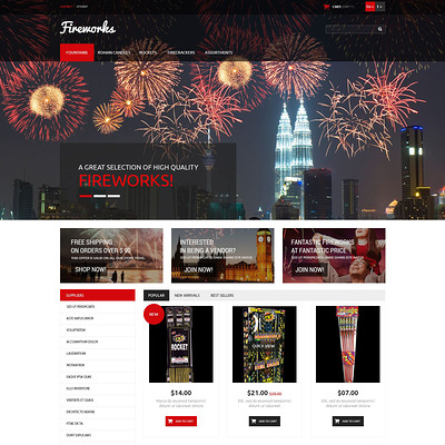 Fireworks Store PrestaShop Theme (PrestaShop theme for selling party supplies) Item Picture