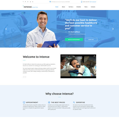 Intense Dental Clinic Website Template (Bootstrap website template for dentists and dental clinics) Item Picture