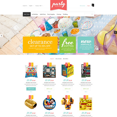 Kids Party Supplies PrestaShop Theme (PrestaShop theme for selling party supplies) Item Picture