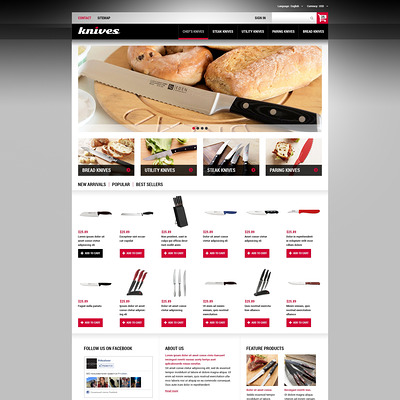 Knives Made of Best Steel PrestaShop Theme (PrestaShop theme for kitchen supplies) Item Picture