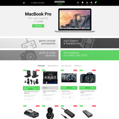Modern Chip PrestaShop Theme (PrestaShop theme for selling computers and accessories) Item Picture