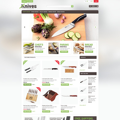 Professional Knives PrestaShop Theme (PrestaShop theme for kitchen supplies) Item Picture