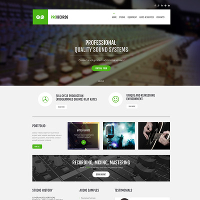 Recording Studio Responsive Website Template (Bootstrap template for music websites) Item Picture