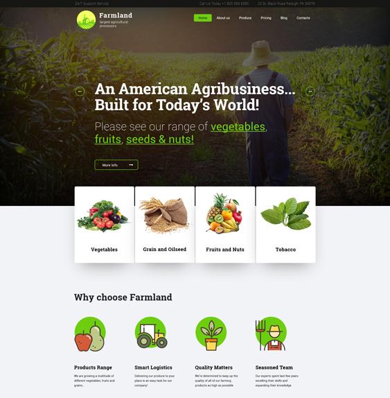 farmland farm agriculture websites wordpress themes