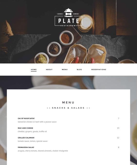 plate restaurant wordpress themes