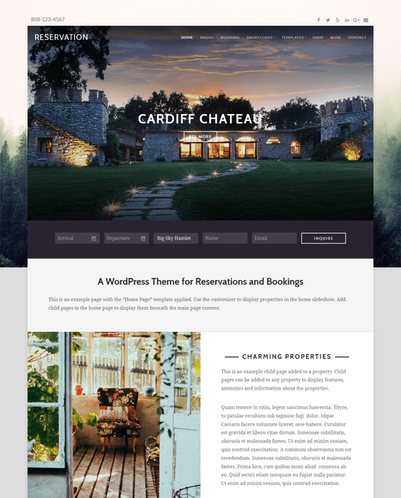 reservation hotel wordpress themes